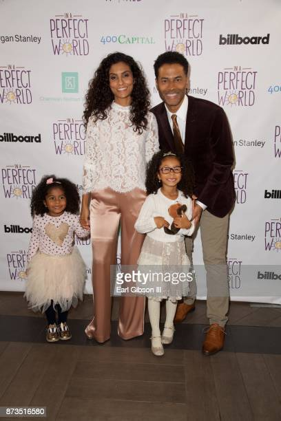 Luna Benet Manuela Testolina Lucia Bella Benet and Eric Benet attend In A Perfect World Foundation Honors Quincy Jones at Four Seasons Hotel Los...