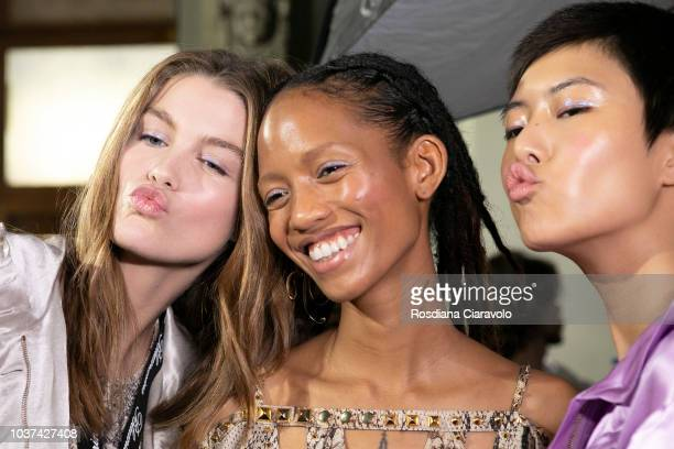Luna Bijl Adesuwa Aighewi and Sohyun Jung are seen backstage ahead of the Blumarine show during Milan Fashion Week Spring/Summer 2019 on September 21...