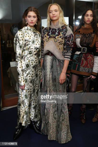 Luna Bijl and other models are seen backstage ahead of the Etro show at Milan Fashion Week Autumn/Winter 2019/20 on February 22, 2019 in Milan, Italy.