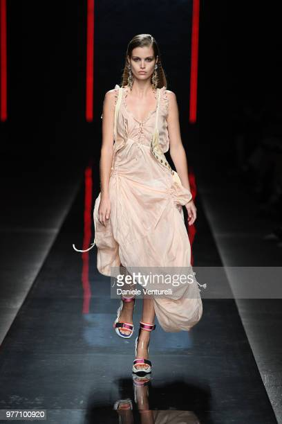 Luna Bijl walks the runway at the Dsquared2 show during Milan Men's Fashion Week Spring/Summer 2019 on June 17 2018 in Milan Italy