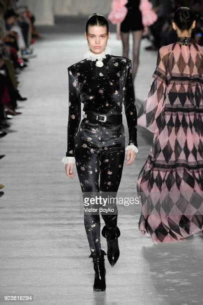 Luna Bijl walks the runway at the Philosophy Di Lorenzo Serafini show during Milan Fashion Week Fall/Winter 2018/19 on February 24 2018 in Milan Italy