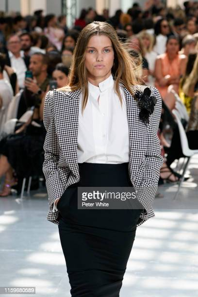 Luna Bijl walks the runway during the Alexandre Vauthier Haute Couture Fall/Winter 2019 2020 show as part of Paris Fashion Week on July 02, 2019 in...
