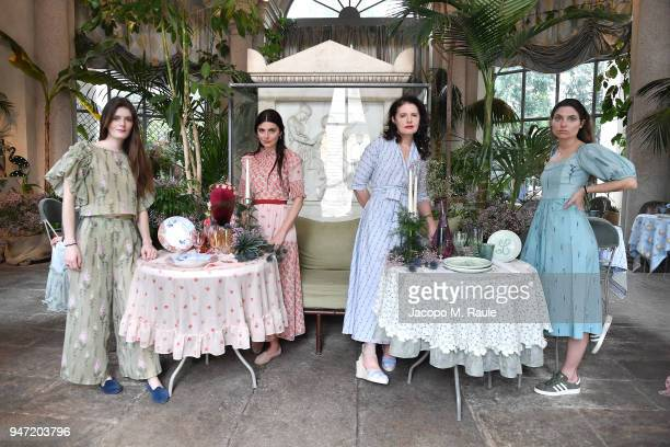 Luna Bonaccorsi Lucilla Bonaccorsi Luisa Beccaria and Lucrezia Bonaccorsi attend Luisa Beccaria Home Collection for Moda Operandi on April 16 2018 in...