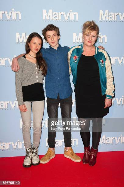 "Luna Lou, Jules Porier and Catherine Salee attend the ""Marvin Ou La Belle Education"" Paris Premiere at Le Louxor cinema on November 20, 2017 in..."