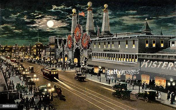 Luna Park and surf avenue by night in Coney Island in New York postcard 20's Coney Island is a theme park created in the 19th century in Brooklyn