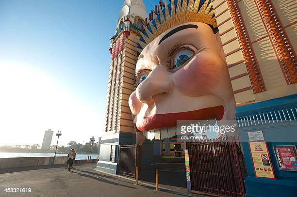 luna park on a summer day. - luna park sydney stock pictures, royalty-free photos & images
