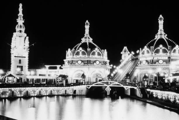 Luna Park on Coney Island, New York, lit up at night...