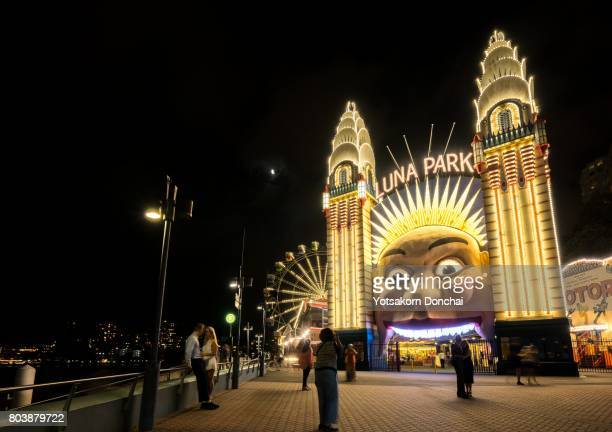 Luna Park Sydney entrance (night scene), Australia