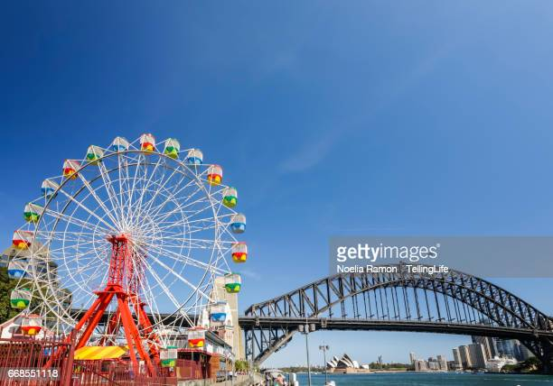 Luna Park with the wheel and the Sydney Harbour Bridge