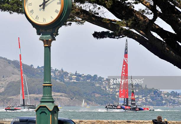 Luna Rossa Challenge and Emirates Team New Zealand sail their AC72s at the start of the third race of the Louis Vuitton Cup in San Francisco...