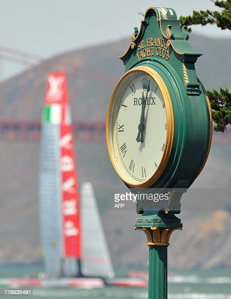 Luna Rossa Challenge prepares to race moments before the start of the Louis Vuitton Cup in San Francisco California on August 19 2013 AFP PHOTO/Josh...