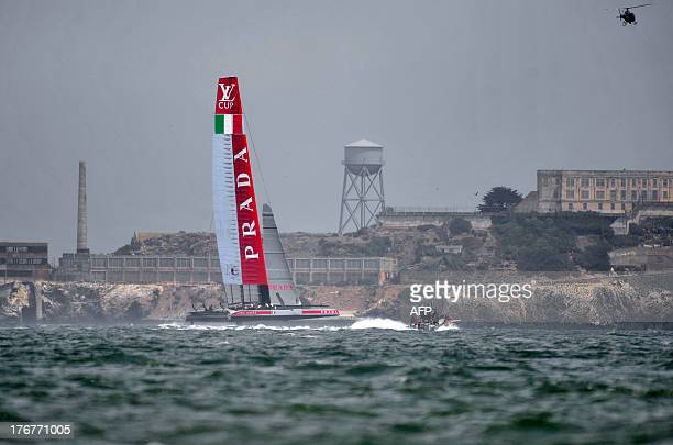 Luna Rossa Challenge sails near Alcatraz during the second finals race of the Louis Vuitton Cup in San Francisco California on August 18 2013 AFP...