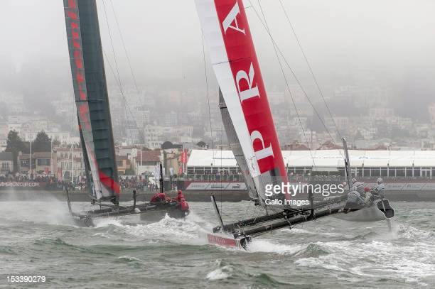 Luna Rossa Challenge Swordfish of Italy by Iker Martinez de Lizarduy against Artemis Racing Red of Sweden skippered by Nathan Outteridge during the...