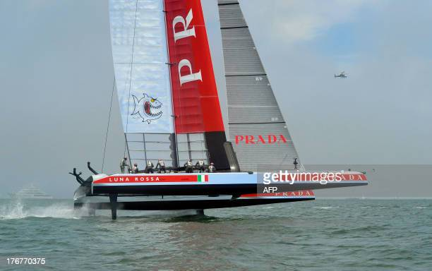 Luna Rossa Challenge trails behind Emirates Team New Zealand after the start of the second finals race of the Louis Vuitton Cup in San Francisco...