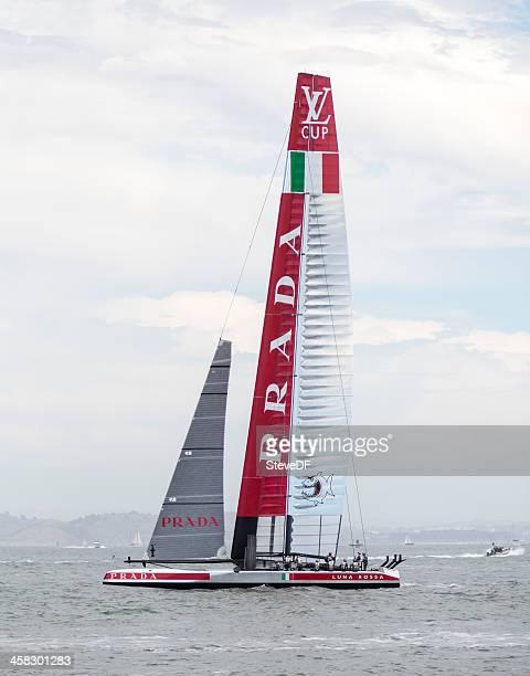 luna rossa challenge's 72 foot america's cup catamaran training - catamaran race stock photos and pictures