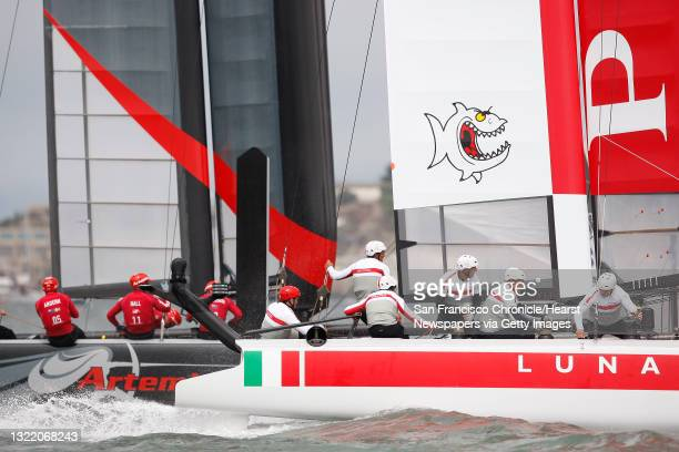Luna Rossa - Piranha and Artemis Racing Red race against each other during the Match Racing Qualifiers for the America's Cup World Series on...