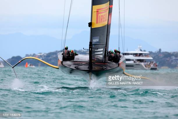 Luna Rossa Prada Pirelli competes against INEOS Team UK on day two, race four of the final of the Prada Cup 2021, the challengers series of the 36th...