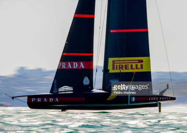 Luna Rossa Prada Pirelli during race 7 of the 2021 Prada Cup Final against INEOS TEAM UK on Auckland Harbour on February 21, 2021 in Auckland, New...