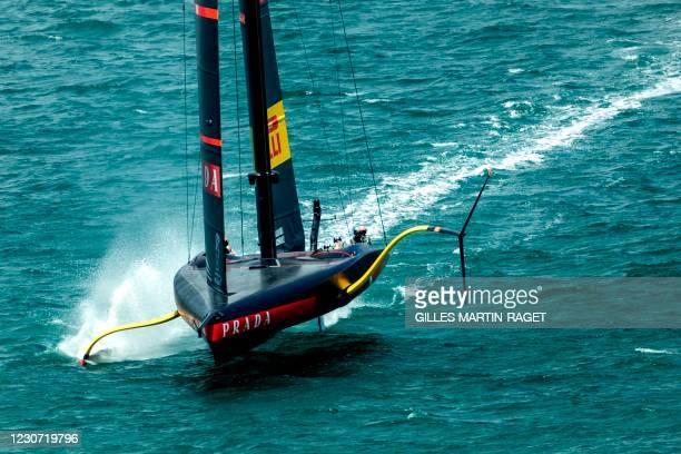 Luna Rossa Prada Pirelli sails at a training session on the eve of round robin races three and four of the 2021 Prada Cup, the challengers series of...