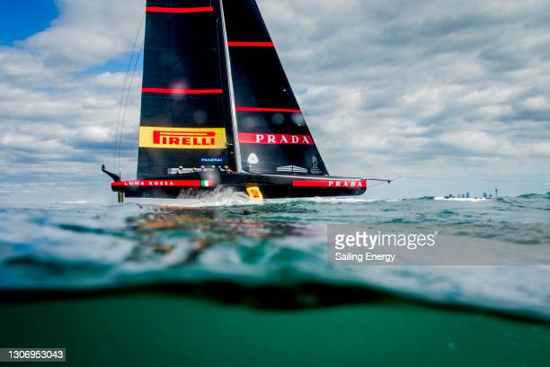Luna Rossa Prada Pirelli Team warms up before the America's Cup Race 7 gets cancelled between Emirates Team New Zealand and Luna Rossa Prada Pirelli...