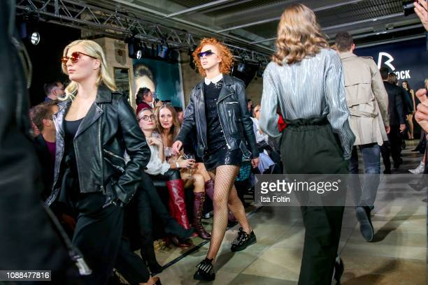 Luna Schweiger and Anna Ermakova walk the runway during the Rodenstock Eyewear Show 'A New Vision of Style' at Isarforum on January 24 2019 in Munich...