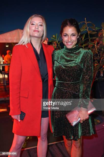 Luna Schweiger and Anna Julia Kapfelsperger attend the BUNTE New Faces Award Film at Spindler Klatt on April 26 2018 in Berlin Germany