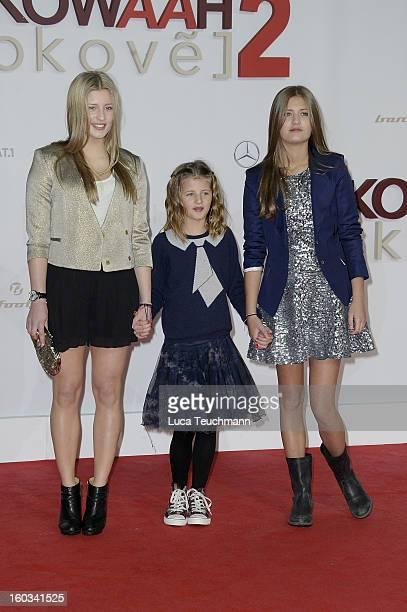 Luna Schweiger Emma Schweiger and Lilly Schweiger attend 'Kokowaeaeh 2' Germany Premiere at Cinestar Potsdamer Platz on January 29 2013 in Berlin...