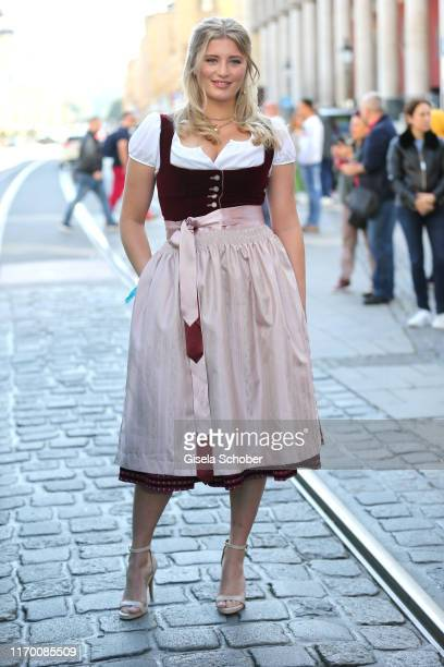 Luna Schweiger wearing a Dirndl by Amsel Fashion during the Breakfast at Tiffany at Tiffany Store ahead of the Oktoberfest opening on September 21...
