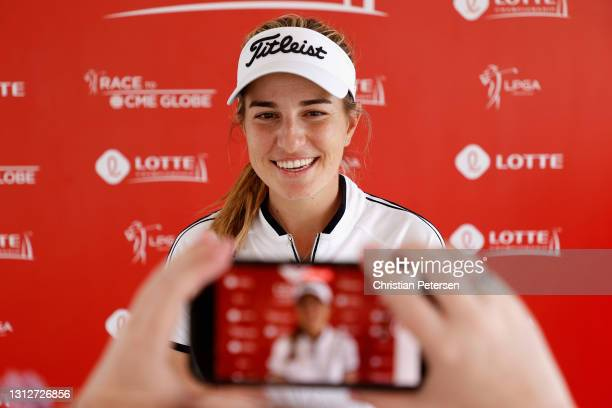 Luna Sobron Galmes of Spain speaks with the media following the second round of the LPGA LOTTE Championship at Kapolei Golf Club on April 15, 2021 in...