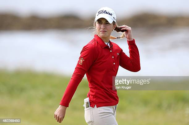 Luna Sobron of Spain makes her way down the fairway during a practise round ahead of the Ricoh Women's British Open on the Ailsa Course at Trump...