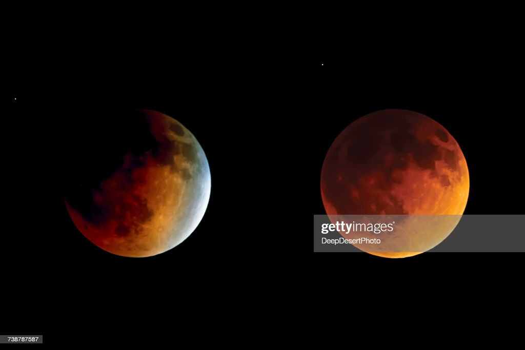 Lunar Eclipse from Beginning to Totality : Stock Photo