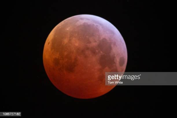 A lunar eclipse takes place turning the moon red as it passes through the earths shadow on January 21 2019 in Newcastle upon Tyne England It is known...