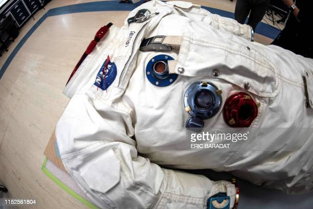 Lunar Mission Apollo 11 Command Module Pilot Michael Collins' Space suit is seen inside the Conservation Laboratory of the Air and Space Museum in...