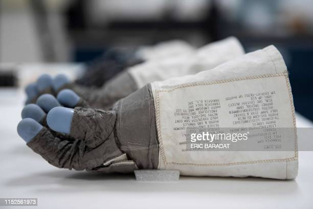 Lunar Mission Apollo 11 Commander Neil Armstrong's gloves are seen inside the Conservation Laboratory of the Air and Space Museum in Chantilly near...