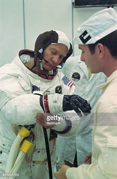 Lunar Module pilot Buzz Aldrin is suited up early July 16th for Apollo 11 moon flight