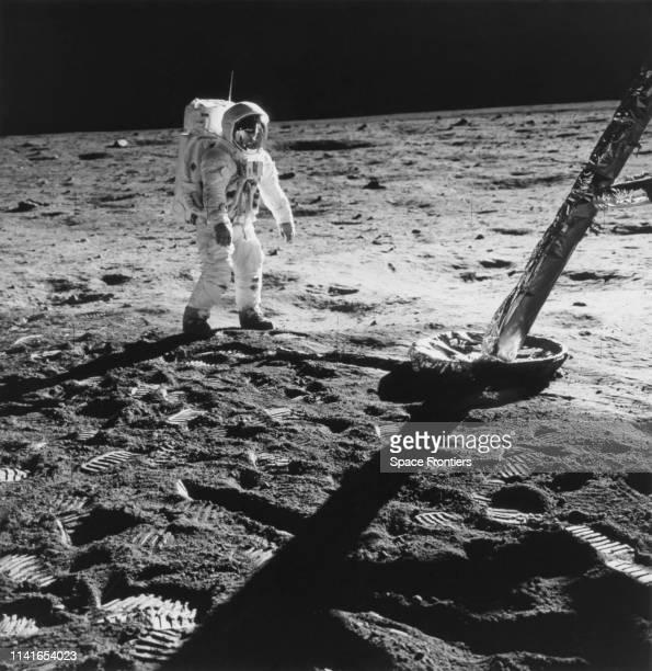 Lunar Module Pilot Edwin 'Buzz' Aldrin Jr near the leg of the Lunar Module the 'Eagle' during his extravehicular activity on NASA's Apollo 11 lunar...