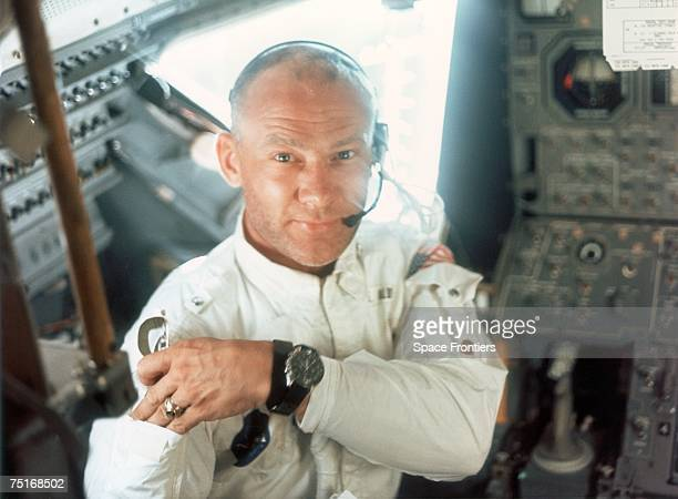 Lunar Module pilot Edwin E Aldrin Jr on board the Lunar Module during the Apollo 11 lunar landing mission 20th July 1969
