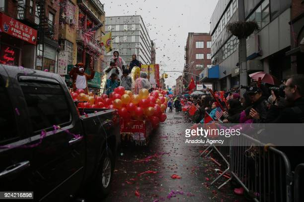 Lunar New Year parade is held at the Chinatown on February 25 2018 in New York United States 2018 is the ''Year of the Dog'' according to the Chinese...