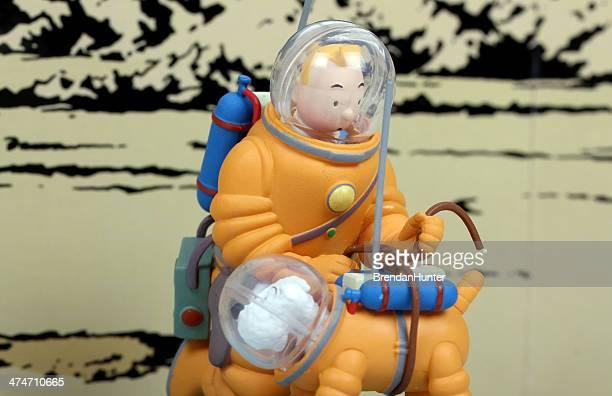 lunar travelers - tintin stock photos and pictures