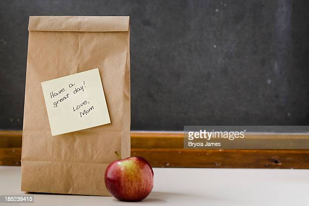 Lunch Bag with Note from Mom and Apple Horizontal