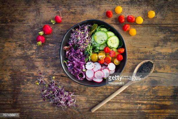 Lunch bowl of organic leaf salad, red cabbage, tomatoes, cucumber and radish sprouts