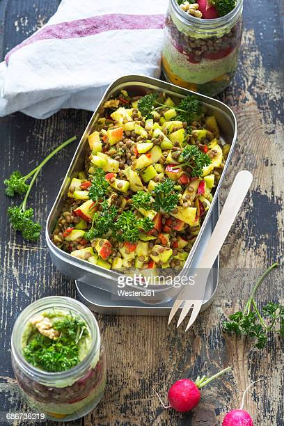 Lunch box of lentil apple salad