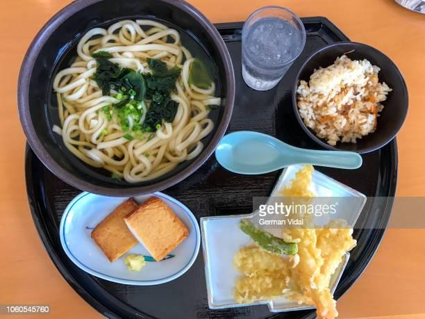 lunch box with ramen, tempura and rice, japan - 天ぷら ストックフォトと画像