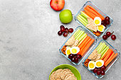 Lunch boxes with healthy snacks, overhead view
