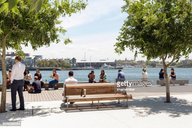 Lunch brake at Barangaroo, background with copy space