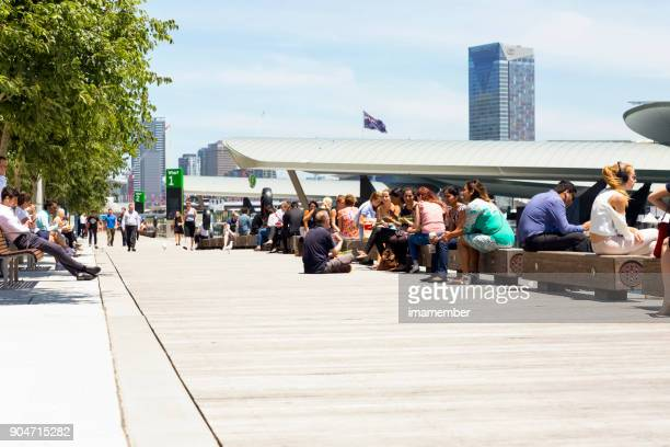lunch brake at barangaroo, background with copy space - darling harbour stock pictures, royalty-free photos & images