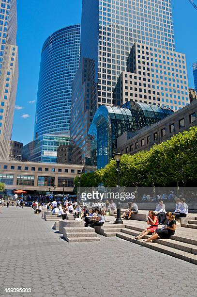 lunch break, battery park city plaza, lower manhattan, nyc - world financial center new york city stock pictures, royalty-free photos & images