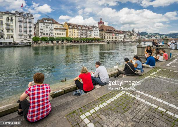 lunch break banks reuss river with