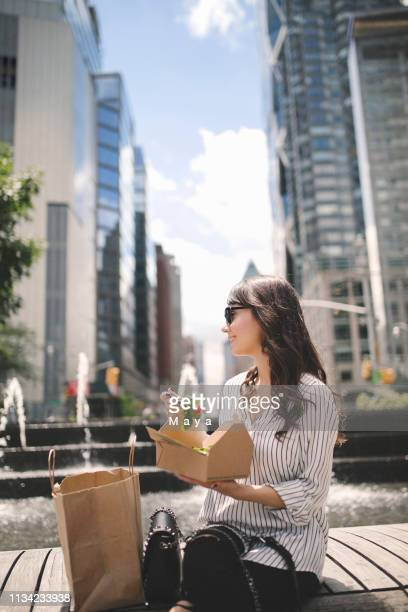 lunch break outdoors - lunch bag stock pictures, royalty-free photos & images