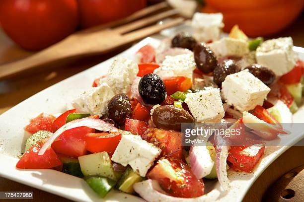 Lunch consisting of a Greek salad